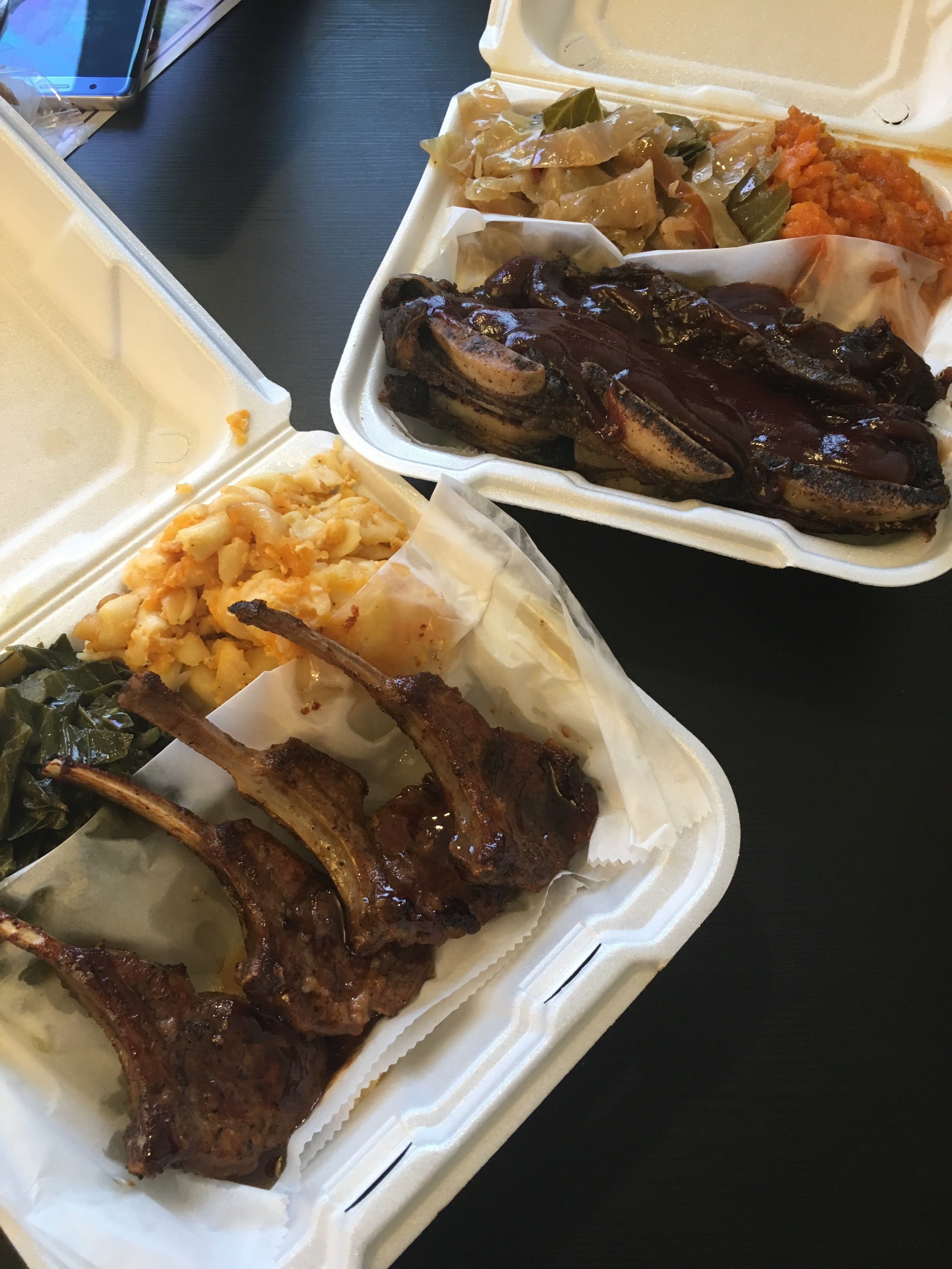 Lamb chops and short ribs from Crafty Soul. Best soul food in West Philly.